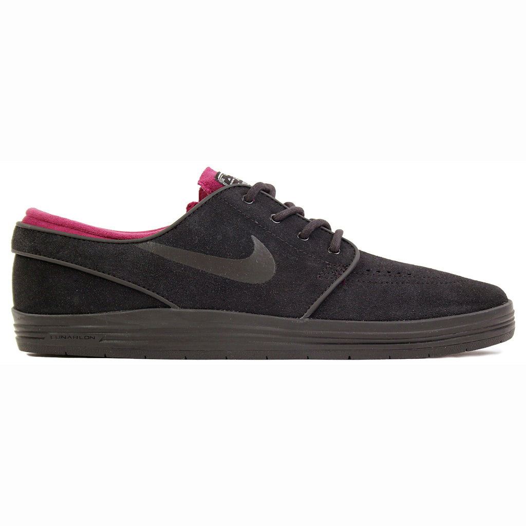 Nike SB Lunar Stefan Janoski Shoes in Black / Black / Mulberry
