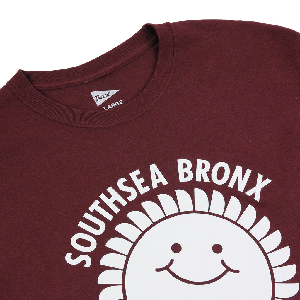 outhsea Bronx Strong Island Long Sleeve T Shirt in White on Maroon - Detail