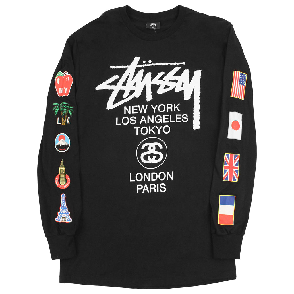 Stussy WT Flags L/S T Shirt in Black - Sleeves