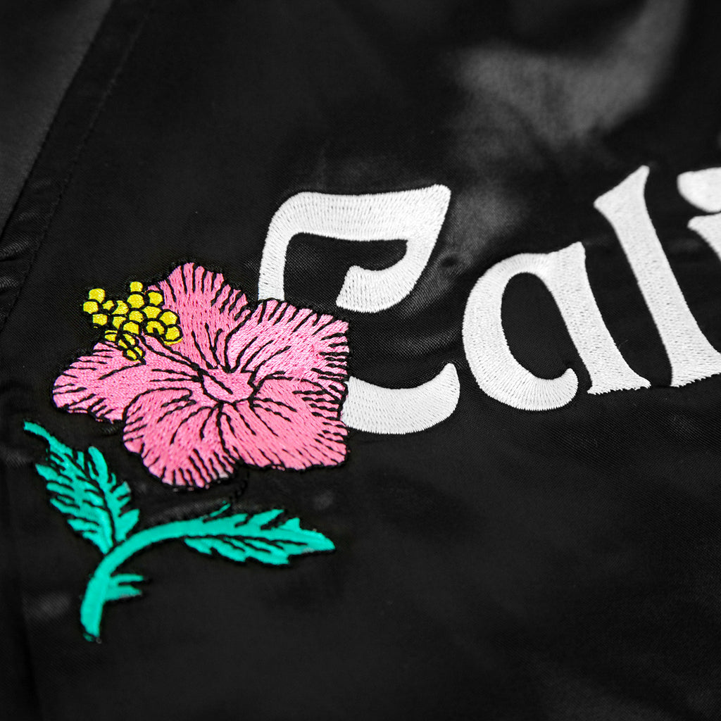 Stussy California Satin Jacket in Black - Back Embroidery