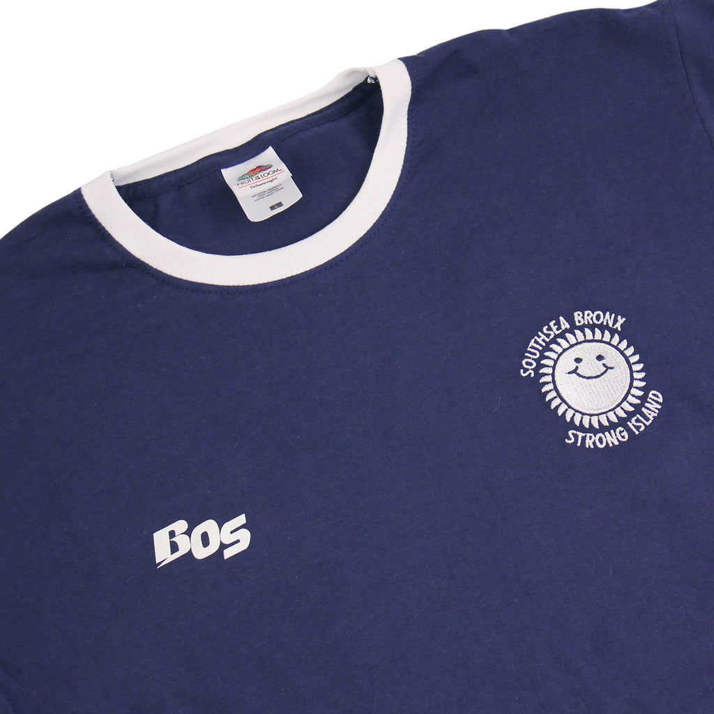 Southsea Bronx Strong Island Football T Shirt in Navy / White - Detail