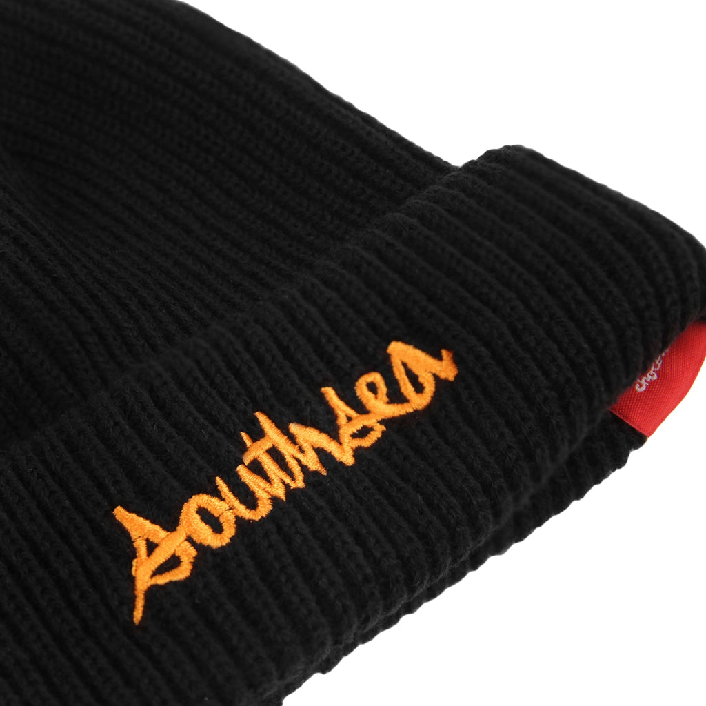 Bored of Southsea x Chocolate Skateboards Chunk The World Beanie in Black - Detail