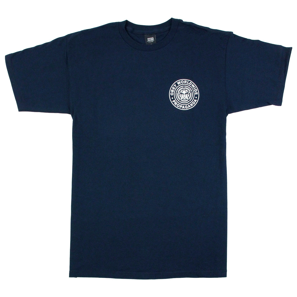 Obey Clothing Obey Worldwide Seal T Shirt in Navy - Front