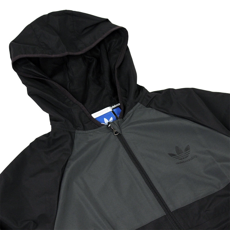 Adidas Skateboarding ADV Wind Jacket in Black/Solid Grey - Hood Detail