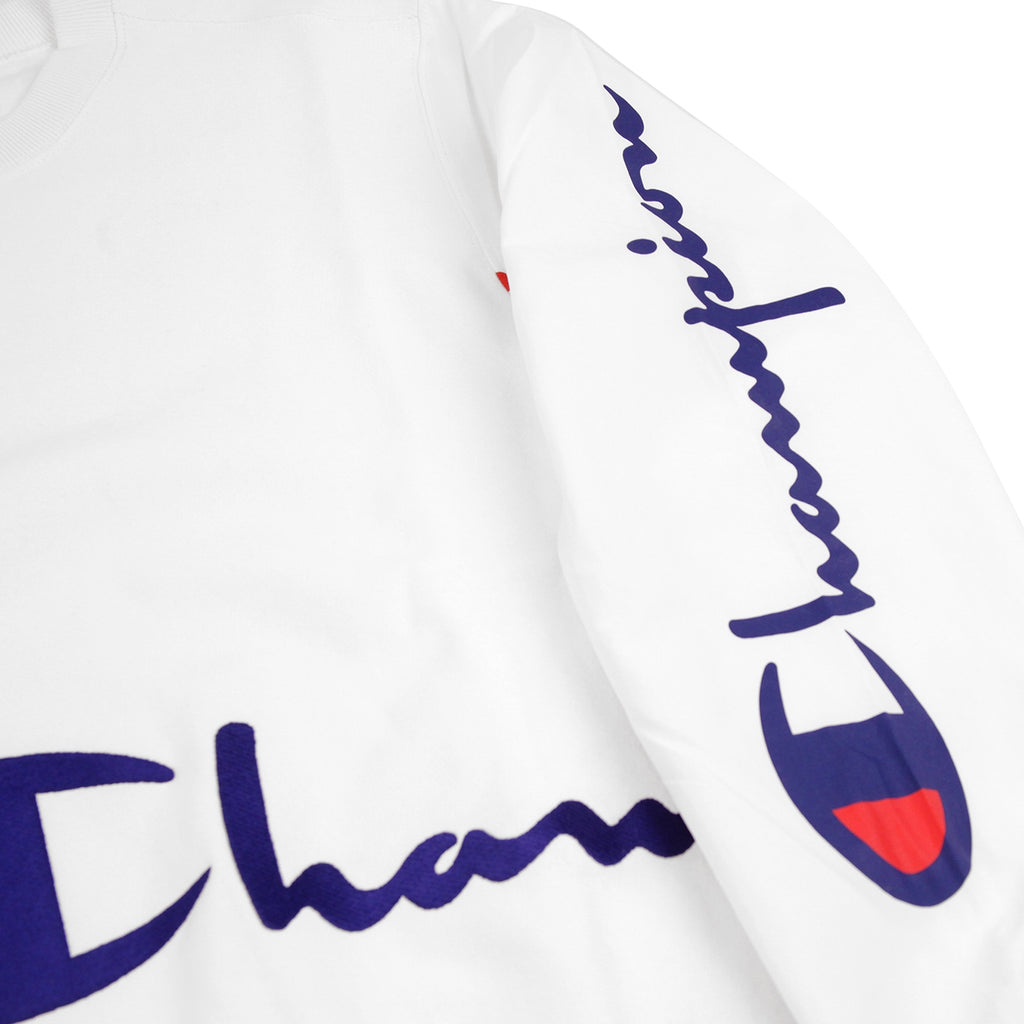 Champion Reverse Weave Training Crew Sweatshirt in White - Sleeve Print