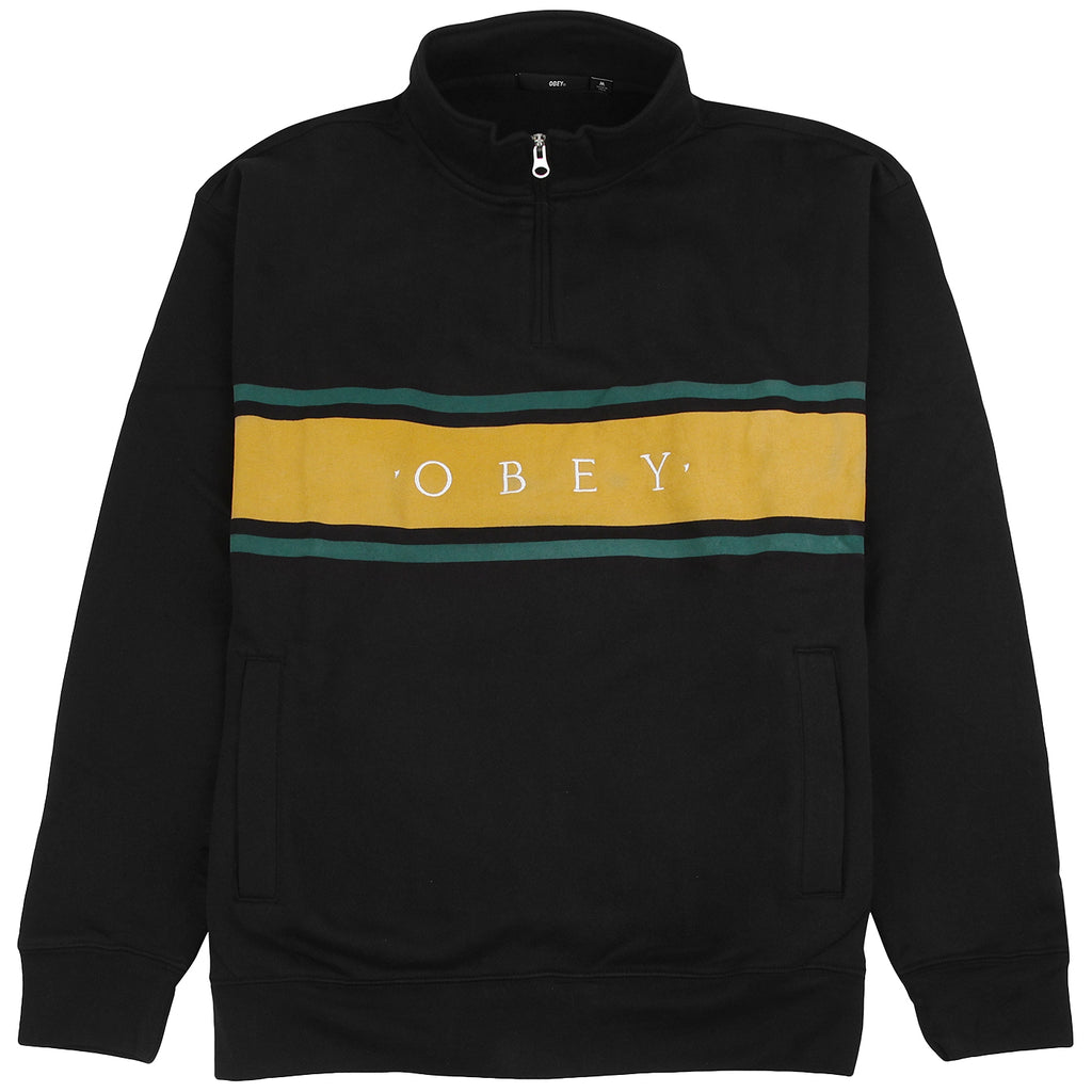Obey Clothing Gaze Mock Neck Zip Sweatshirt in Black