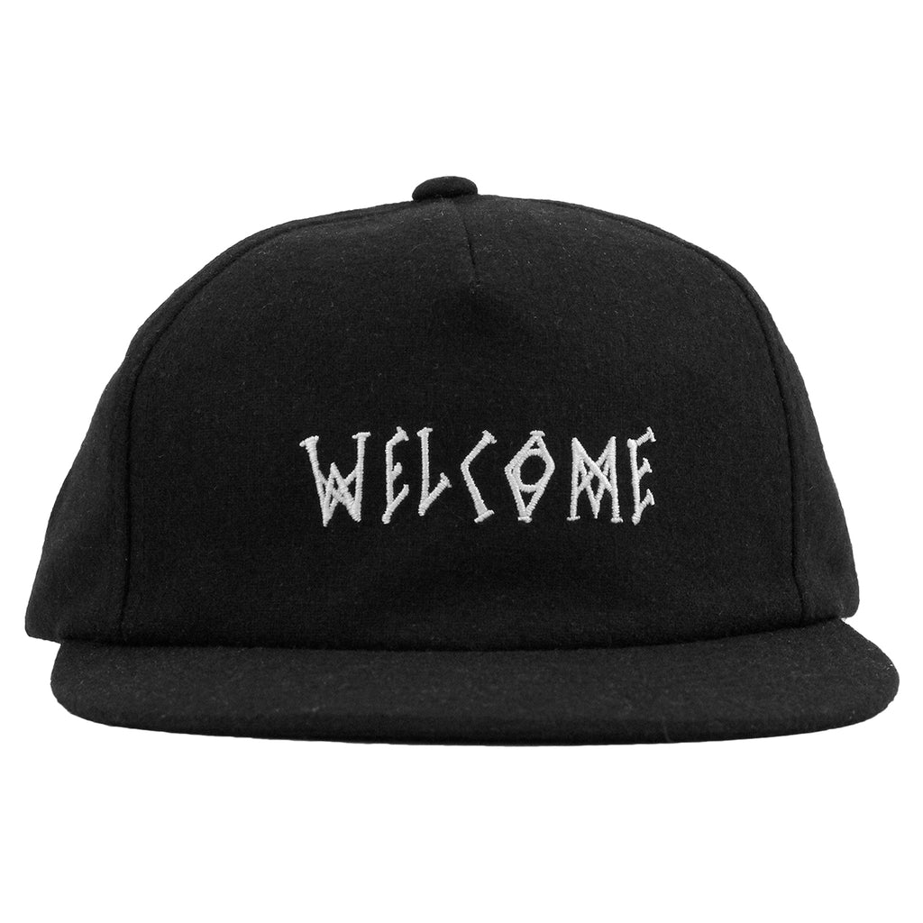 Welcome Skateboards Scrawl Wool Strapback Cap in Black - Detail