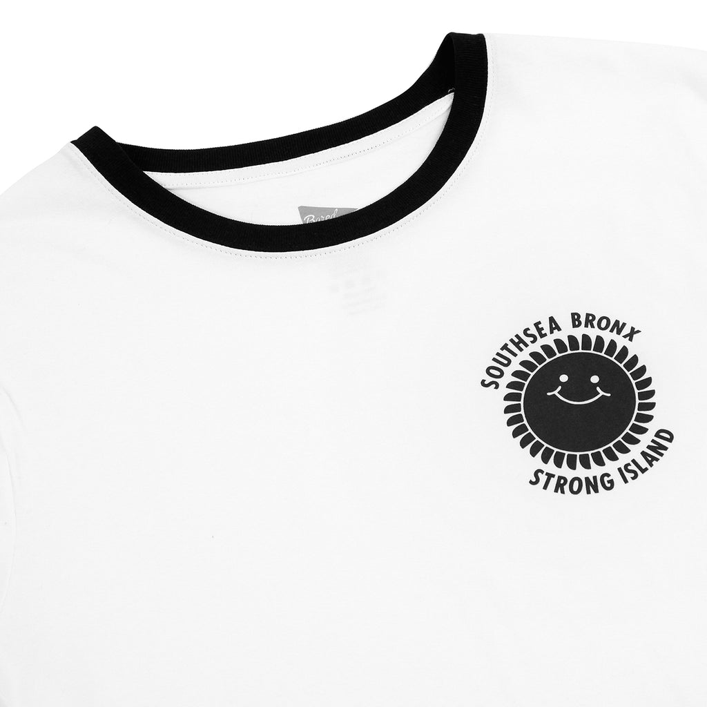 Southsea Bronx Strong Island Ringer T Shirt in White / Black - Detail