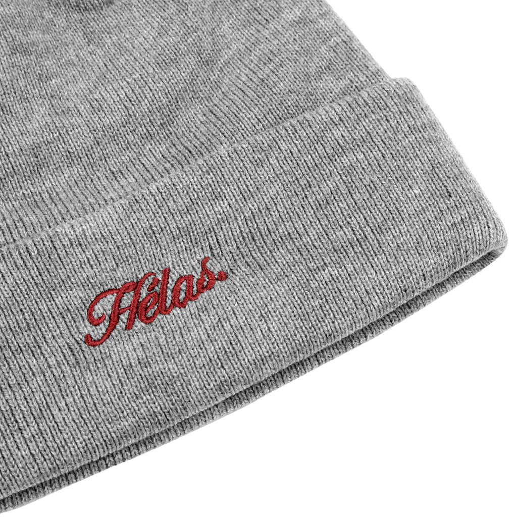 Helas Embroidered Beanie in Grey - Detail