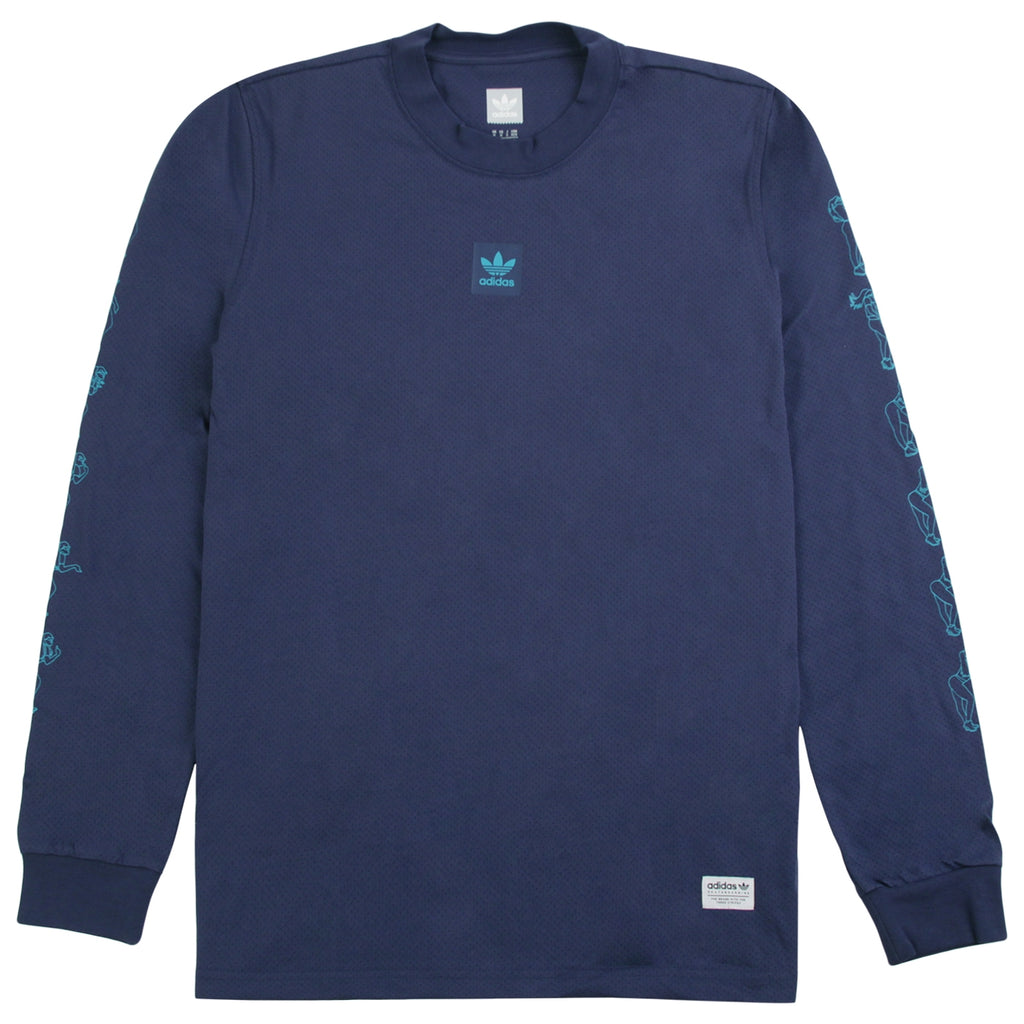 Adidas Skateboarding L/S Mesh Jersey in Noble Indigo