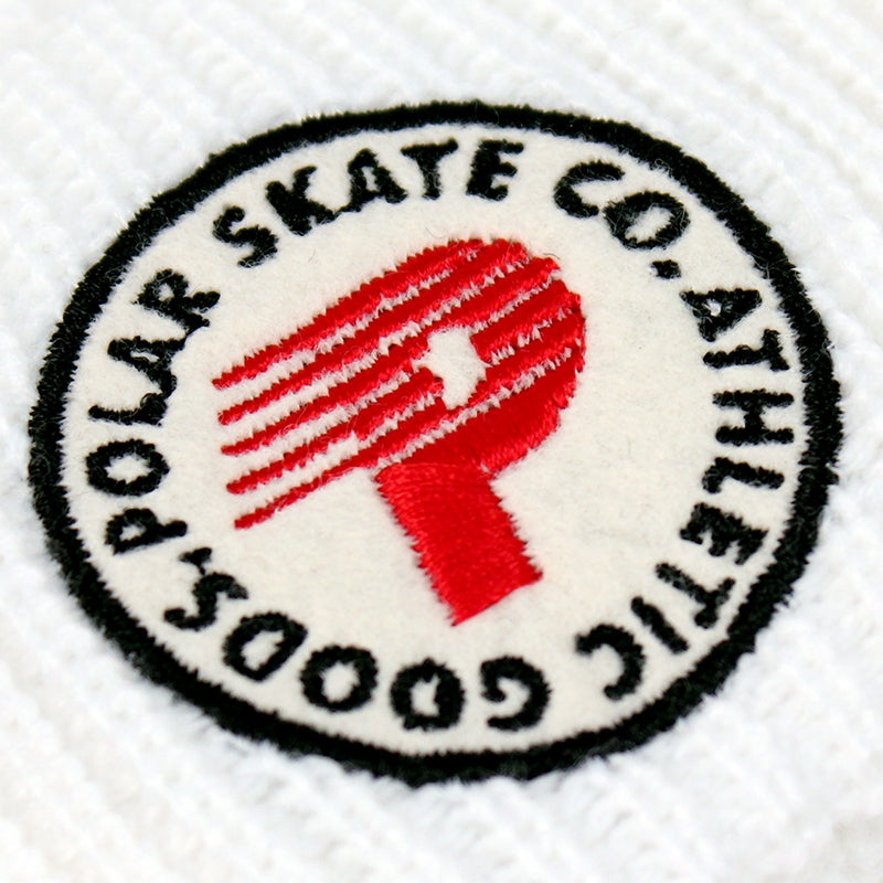 Polar Skate Co Harbour Beanie in White - Detail