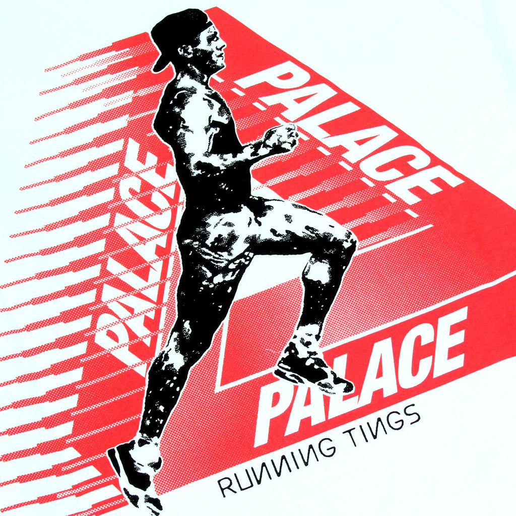 Palace Running Tings Crew in White - Print