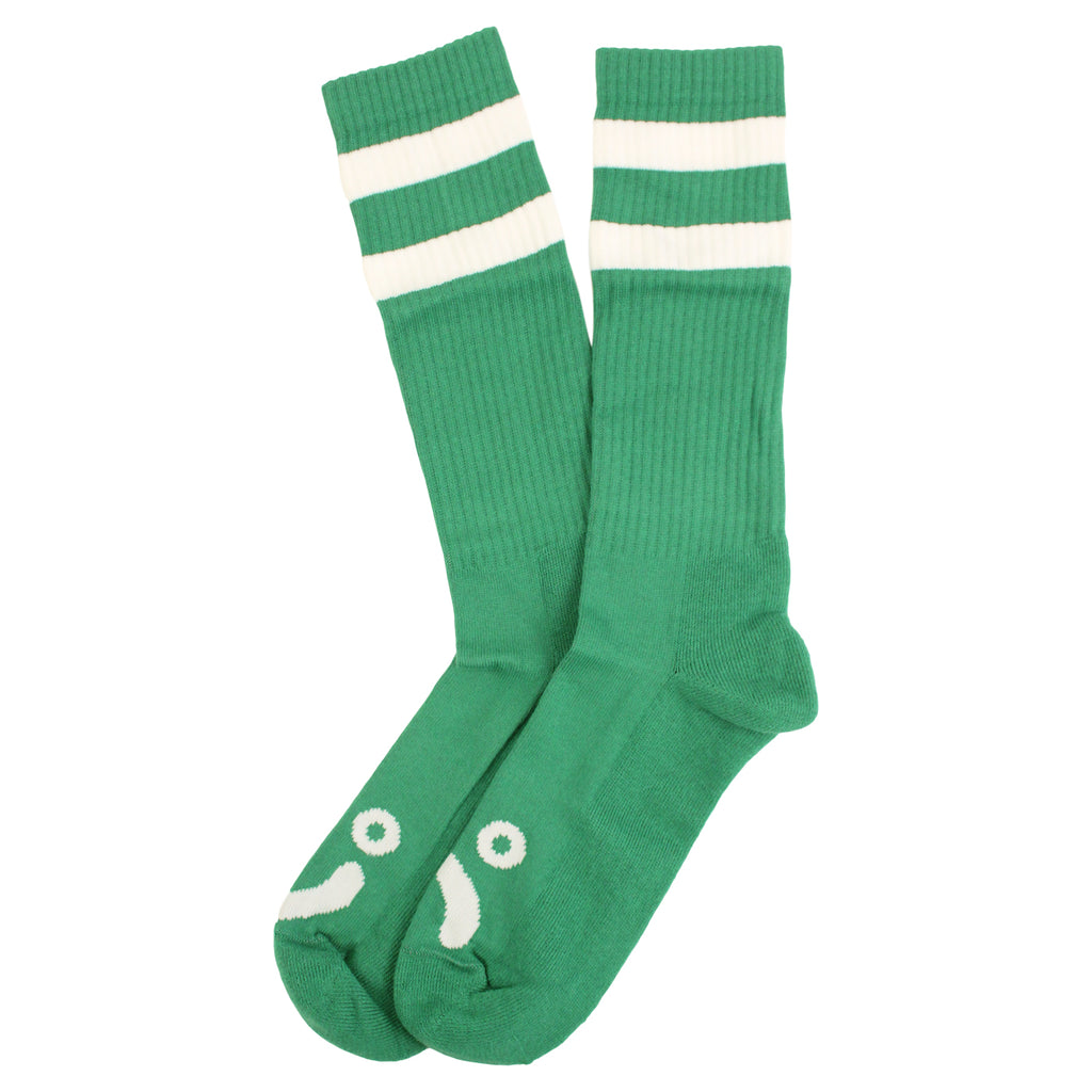 Polar Skate Co Happy Sad Socks in Green / White - Pair