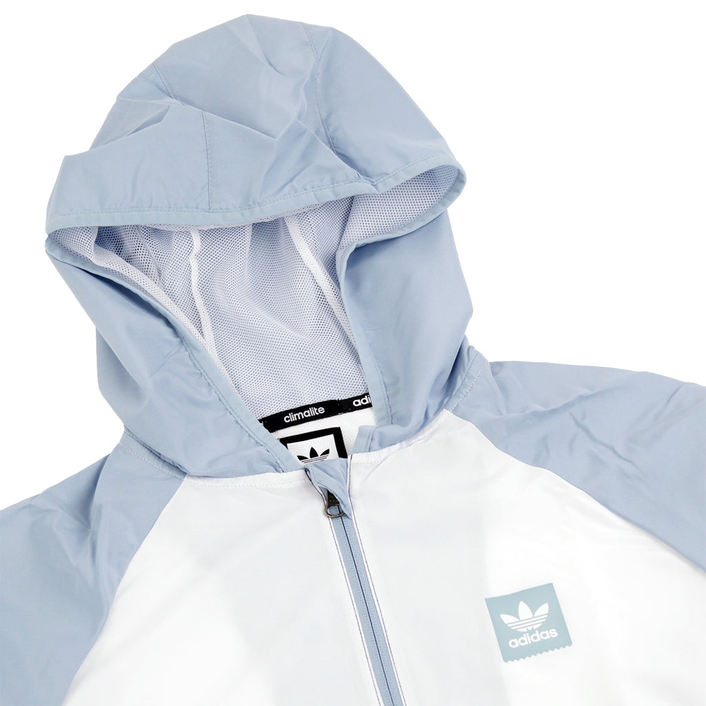 Adidas Skateboarding Blackbird Packable Wind Jacket in White / Ash Grey / Shock Green - Detail