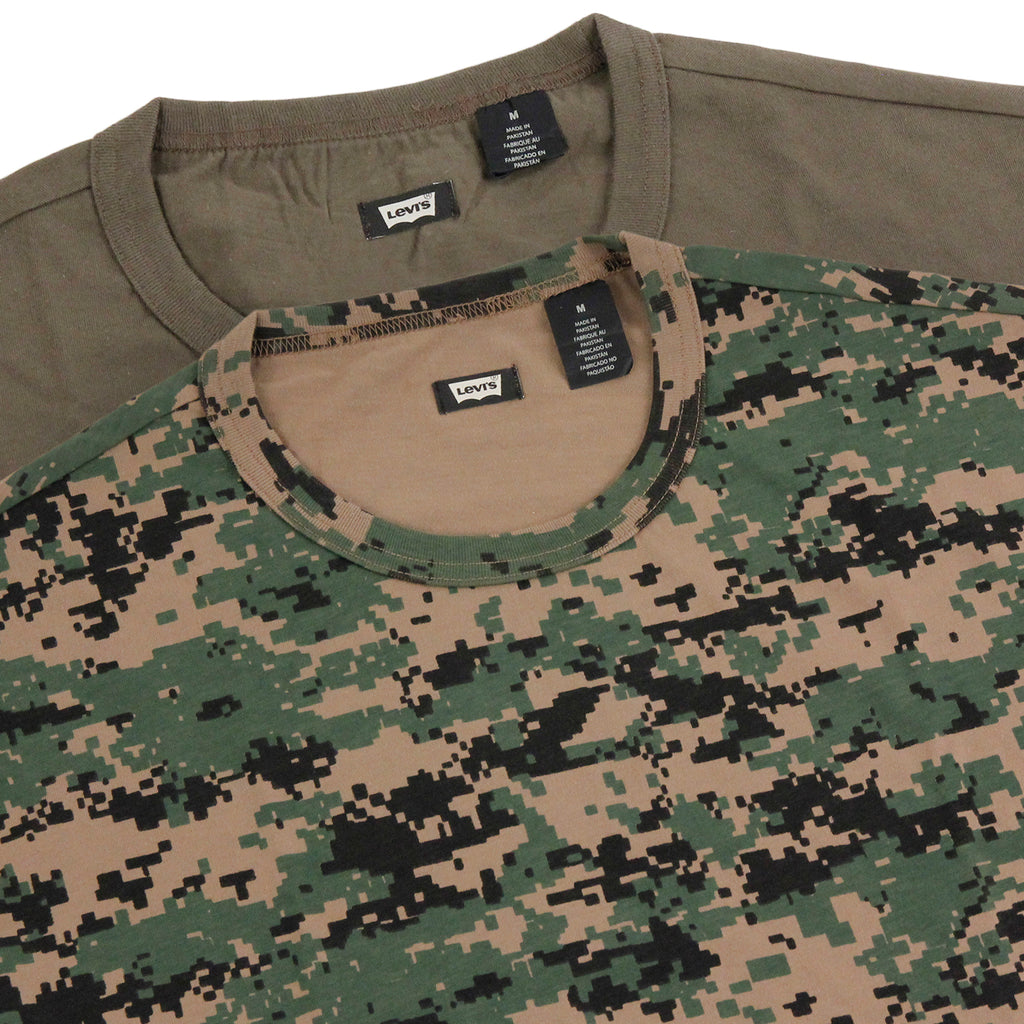 Levis Skateboarding 2 Pack T Shirt in Camo Print / Ivy Green - Detail