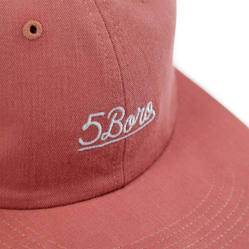 5Boro 5B Script Six Panel Cap in Salmon - Embroidery