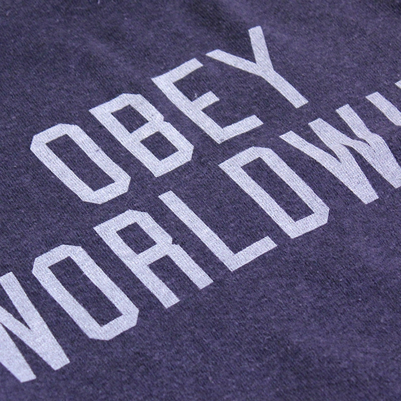 Obey Clothing Corner Block Crew in Mood Indigo - Detail