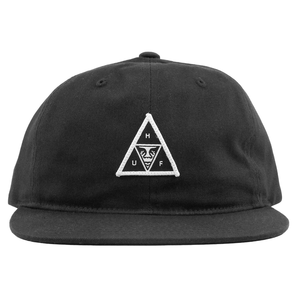HUF x Obey 6 Panel Cap in Black - Front