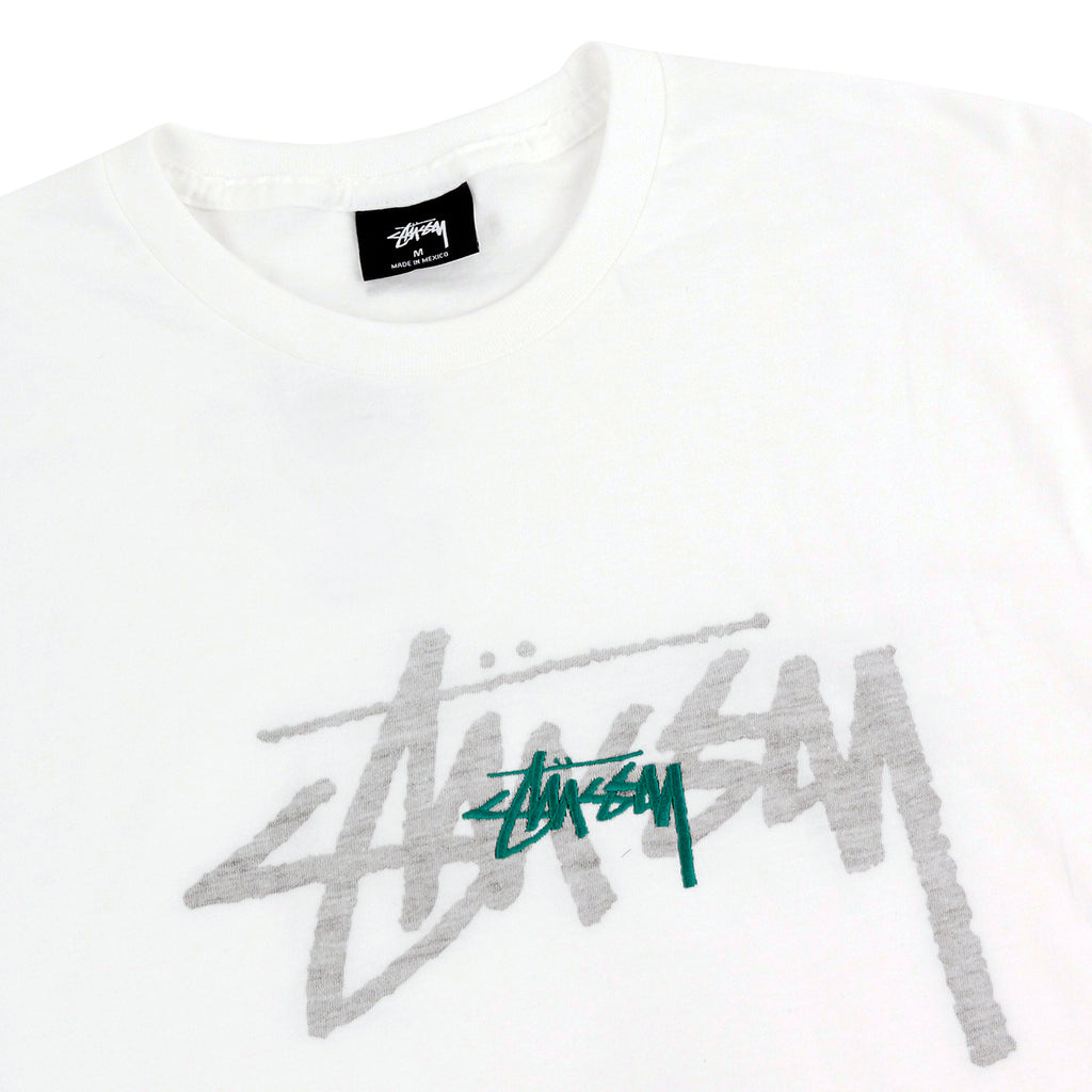 Stussy Rev. Stock Emb. T Shirt in White / Green - Detail