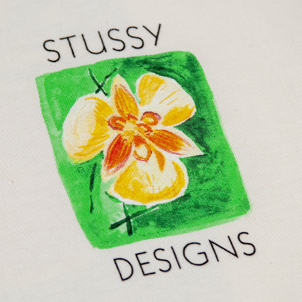 Stussy Hibiscus T Shirt in Natural - Left Print