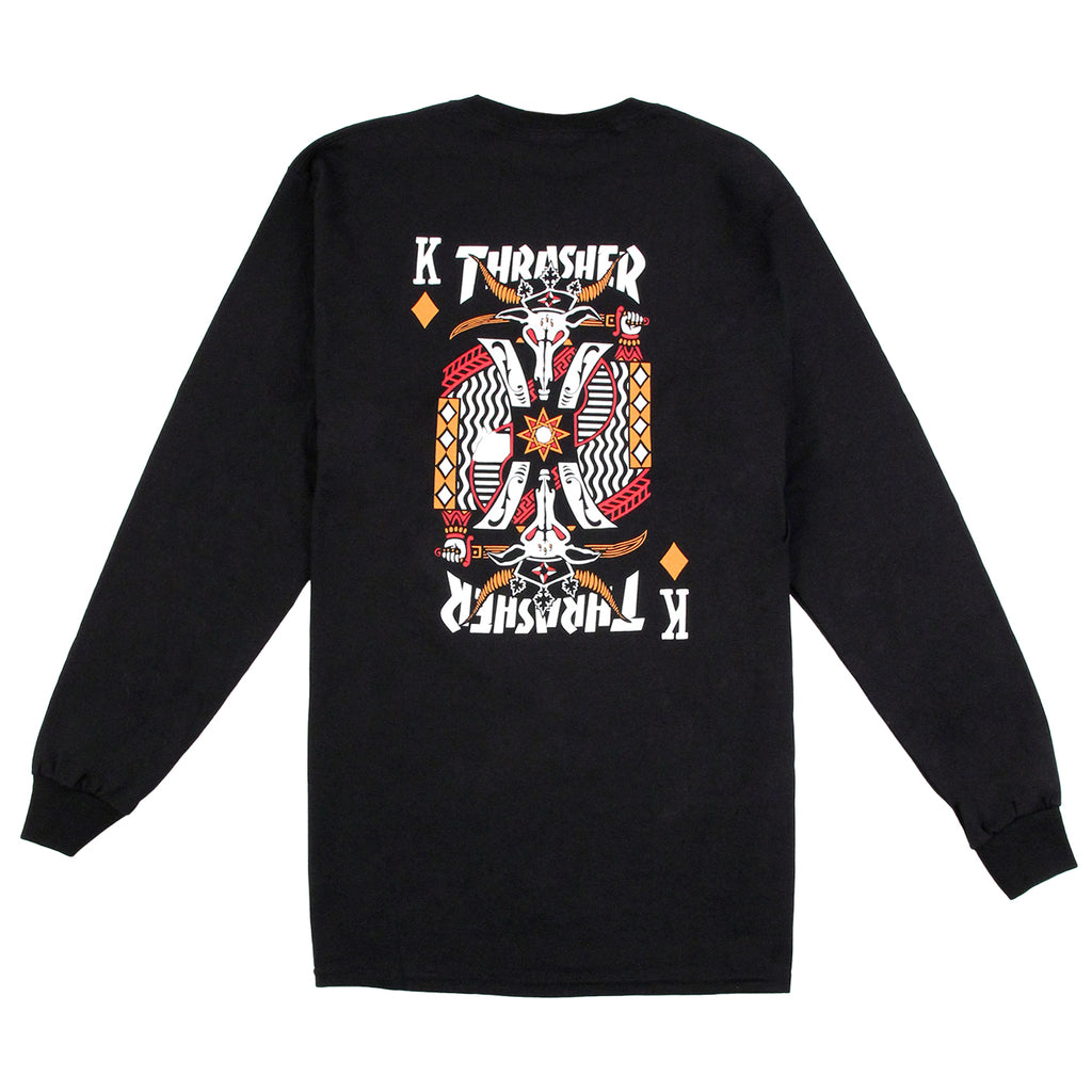 Thrasher King Of Diamonds L/S T Shirt in Black - Back print