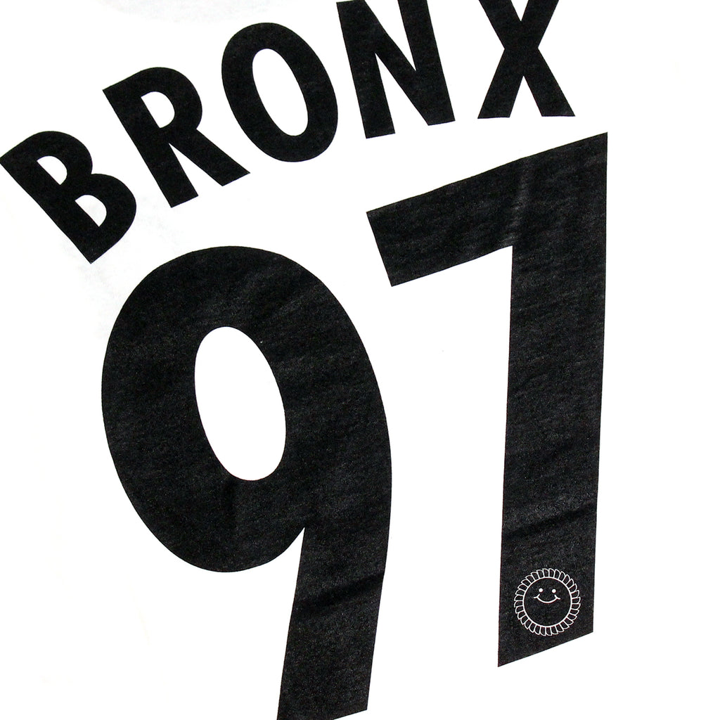 Southsea Bronx Strong Island Football T Shirt in White / Black - Back Print