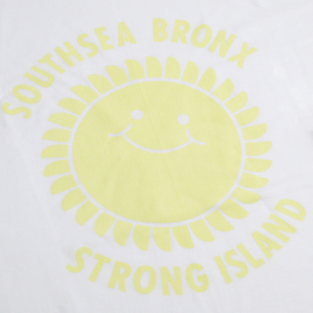 Southsea Bronx Strong Island T Shirt in White / Pastel Yellow - Print