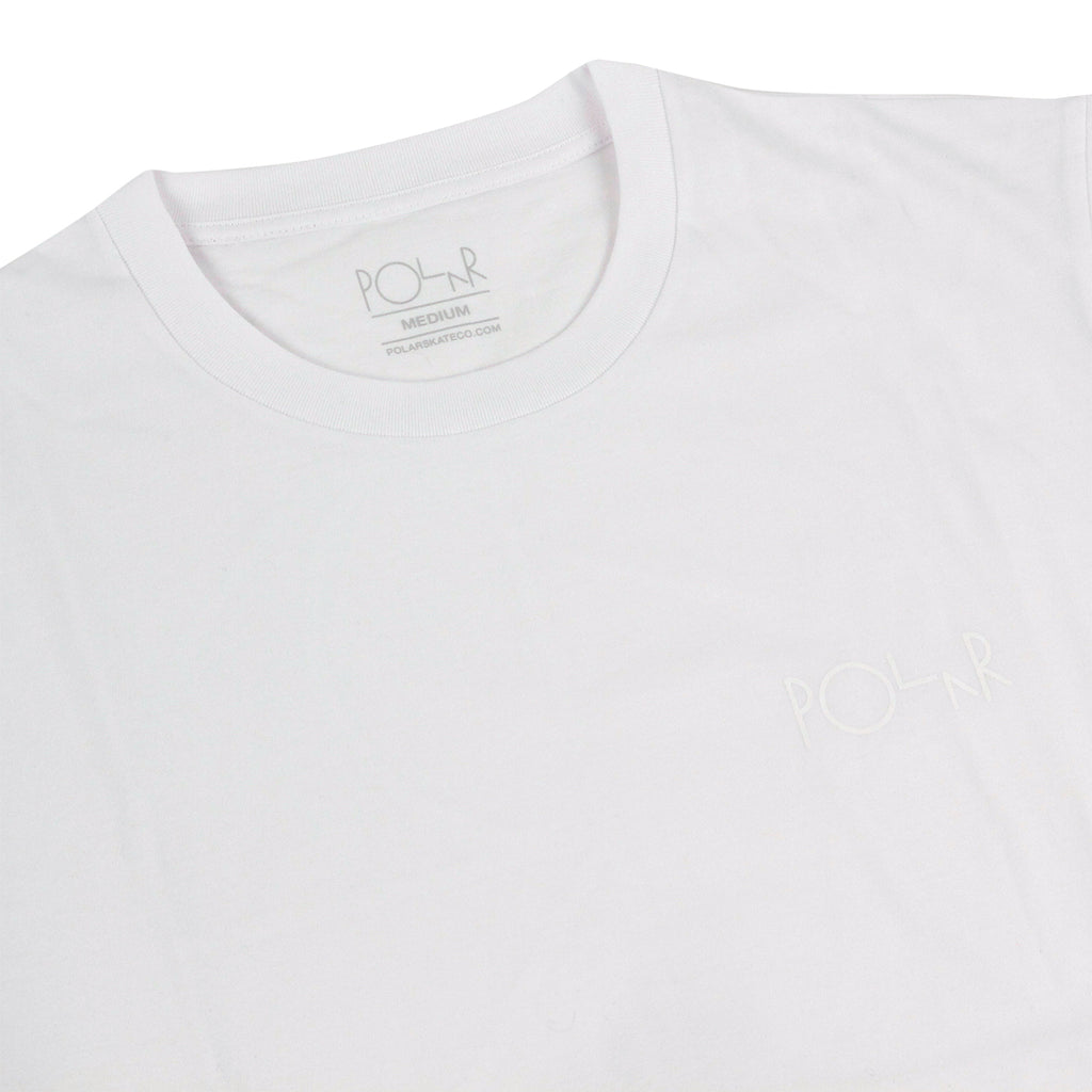 Polar Skate Co Stroke Logo T Shirt in White / White - Detail