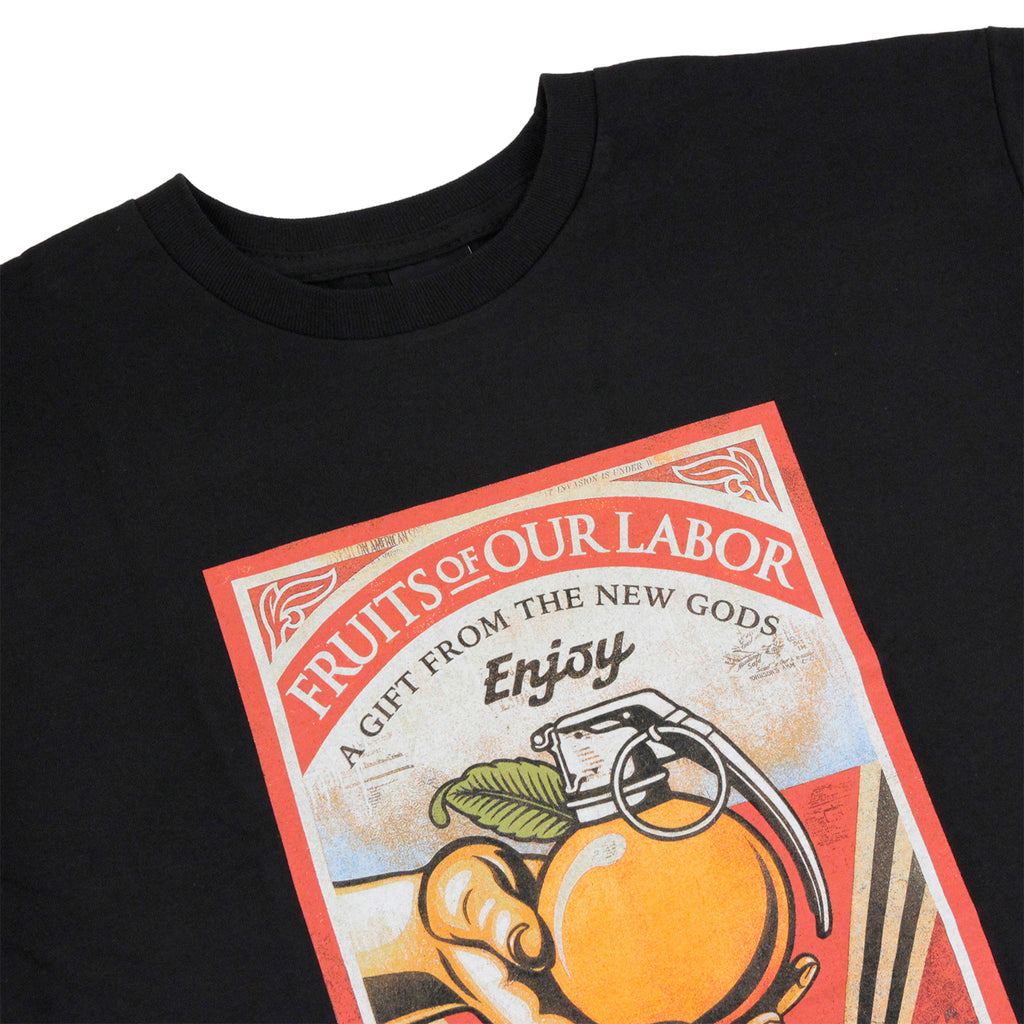 Obey Clothing Fruits Of Our Labour T Shirt in Black - Detail