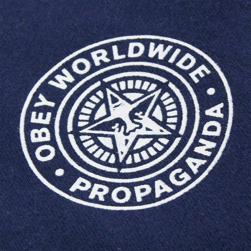 Obey Clothing Propaganda Seal Hoodie in Navy - Print