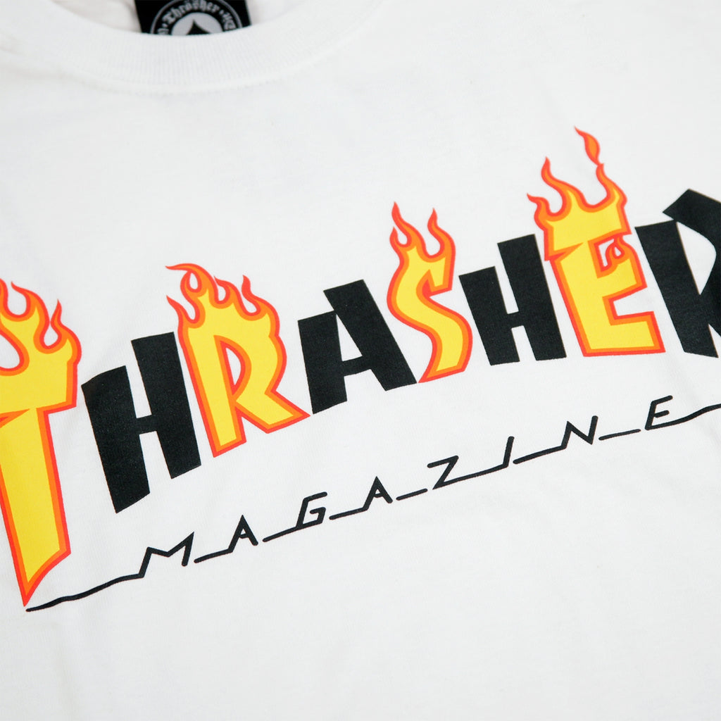 Thrasher Flame Mag T Shirt in White
