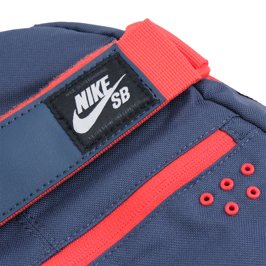 Nike SB Embarca Backpack in Squadron Blue / Dark Obsidian / Light Crimson - Label
