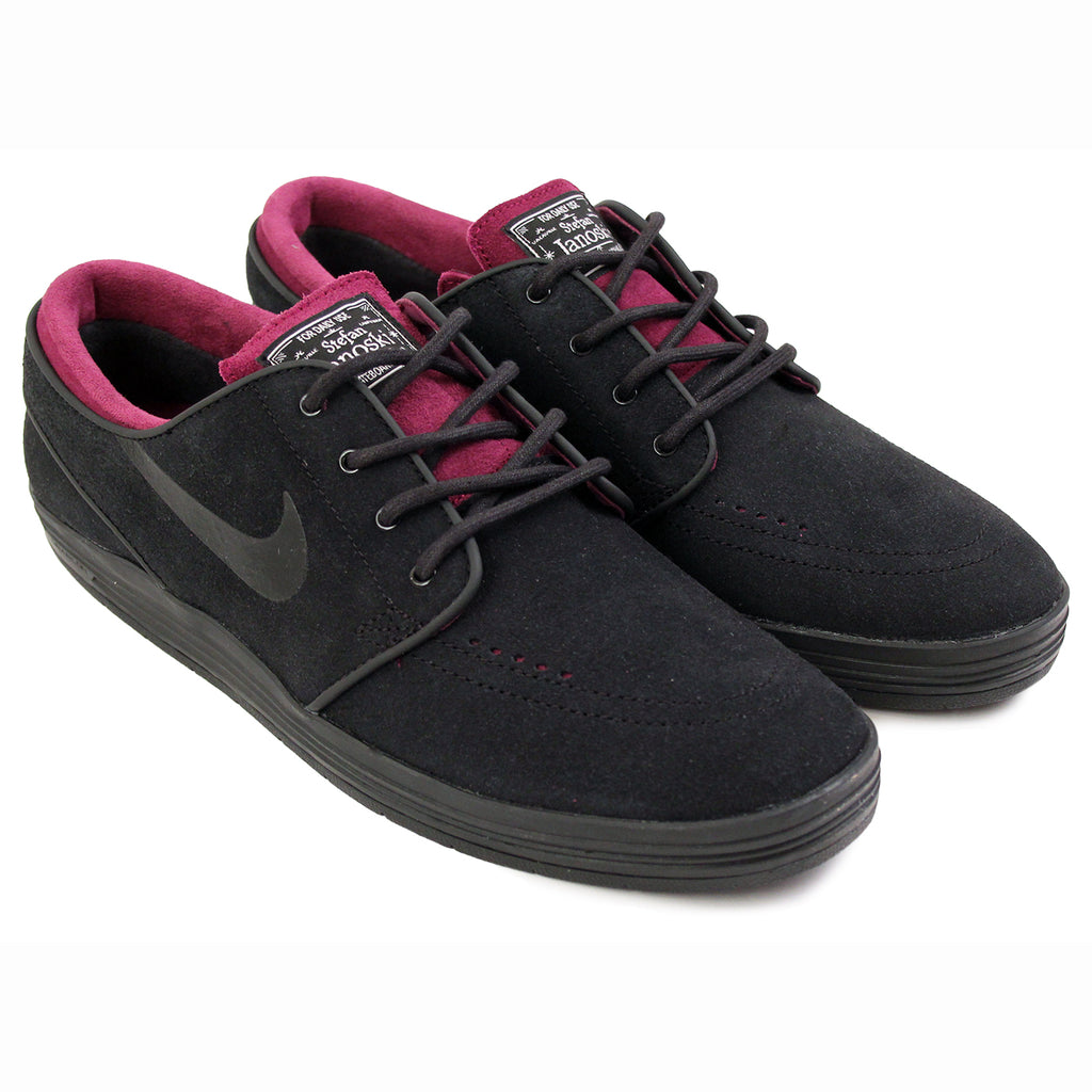 Nike SB Lunar Stefan Janoski Shoes in Black / Black / Mulberry - Paired