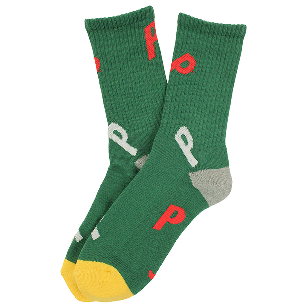 Palace P Allover Socks in Green / White / Red