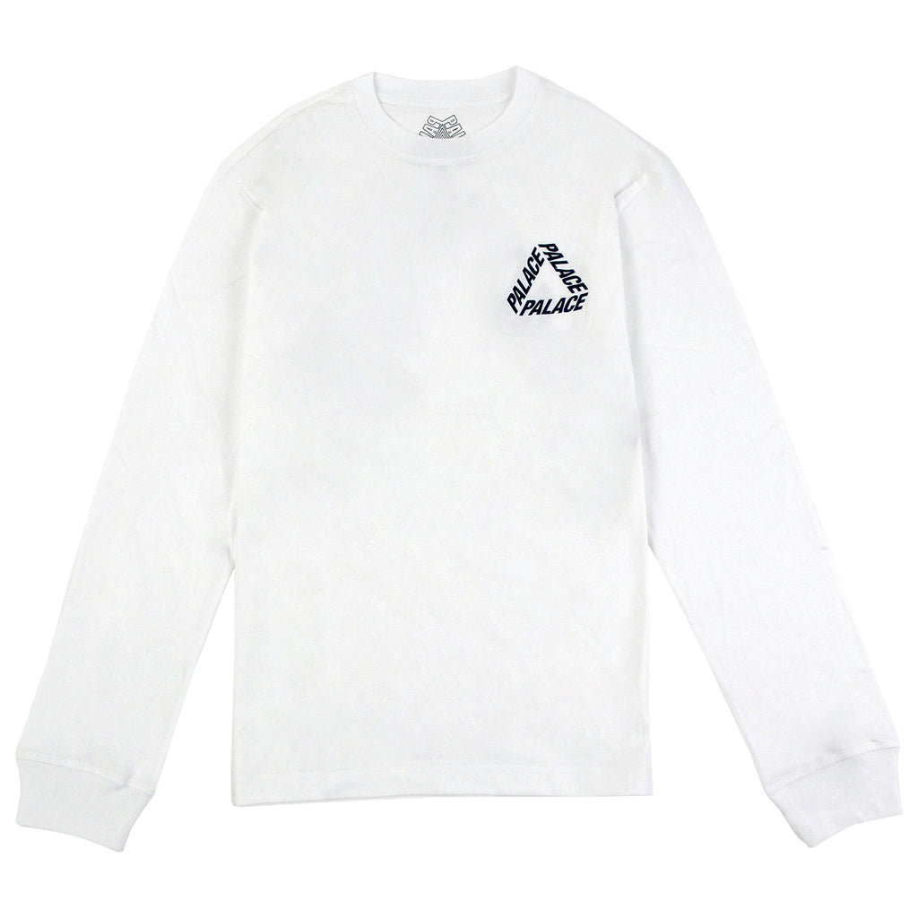 Palace P 3 L/S T Shirt in White / Navy