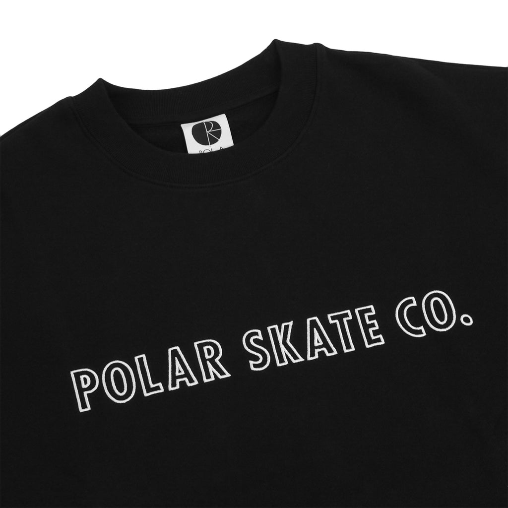 Polar Skate Co Outline Crewneck Sweatshirt in Black - Detail