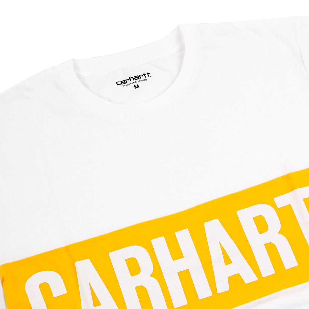 Carhartt Shore T Shirt in White / Carambola - Detail