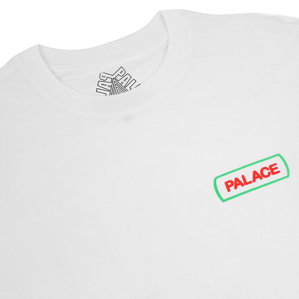 Palace Caveman L/S T Shirt in White - Detail