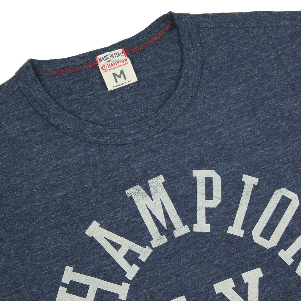 Champion Crew Neck T Shirt in Melange Blue - Detail