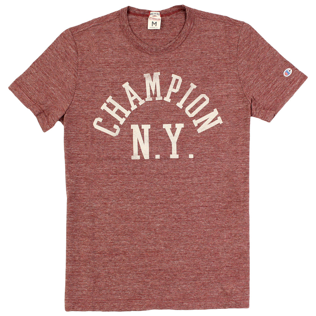 Champion Crew Neck T Shirt in Melange Wine