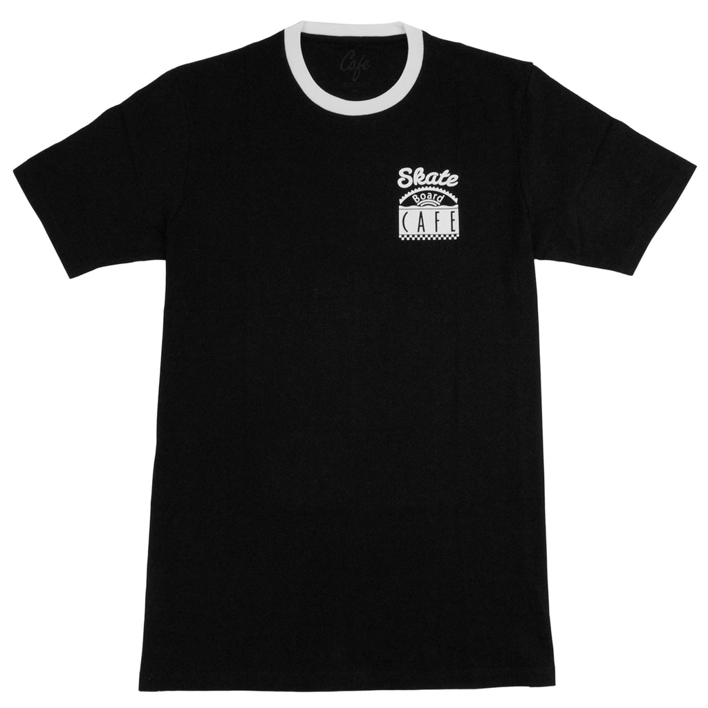 Skateboard Cafe Diner Ring T Shirt in Black / White