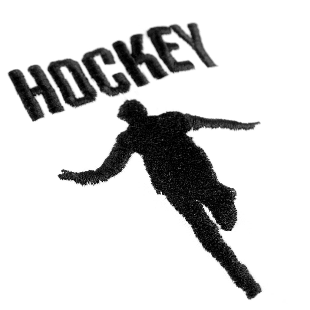 Hockey Skateboards Silhouette Embroidered T Shirt in White - Embroidery
