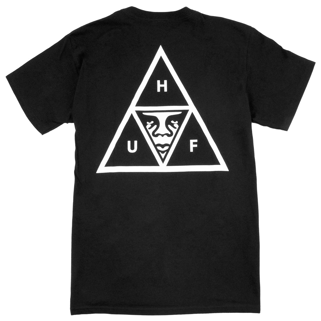 HUF x Obey Triple Triangle Pocket T Shirt in Black - Back