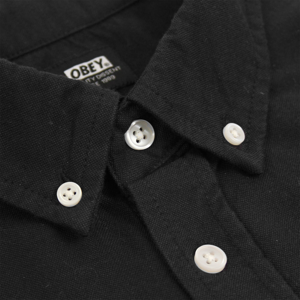 Obey Clothing Eighty Nine Woven Long Sleeve Shirt in Black - Collar