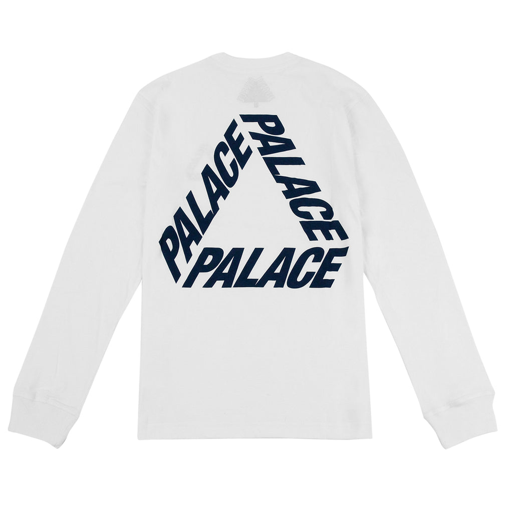 Palace P 3 L/S T Shirt in White / Navy - Back
