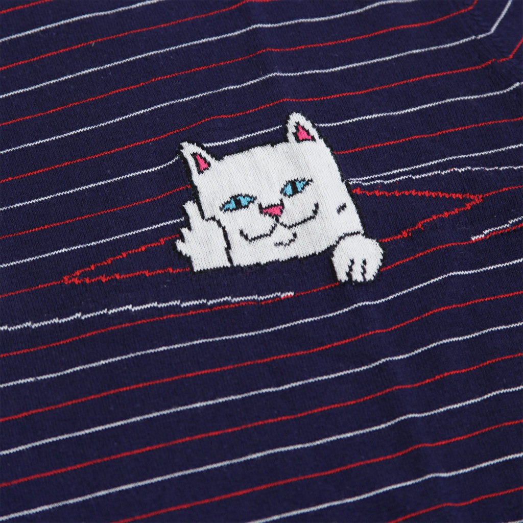 RIPNDIP Peeking Nermal Jacquard Knit T Shirt in Navy / Red - Jacquard