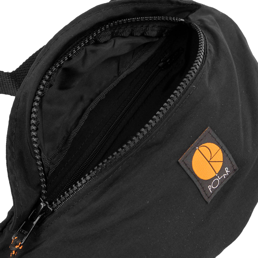 Polar Skate Co Nylon Hip Bag in Black / Orange - Open