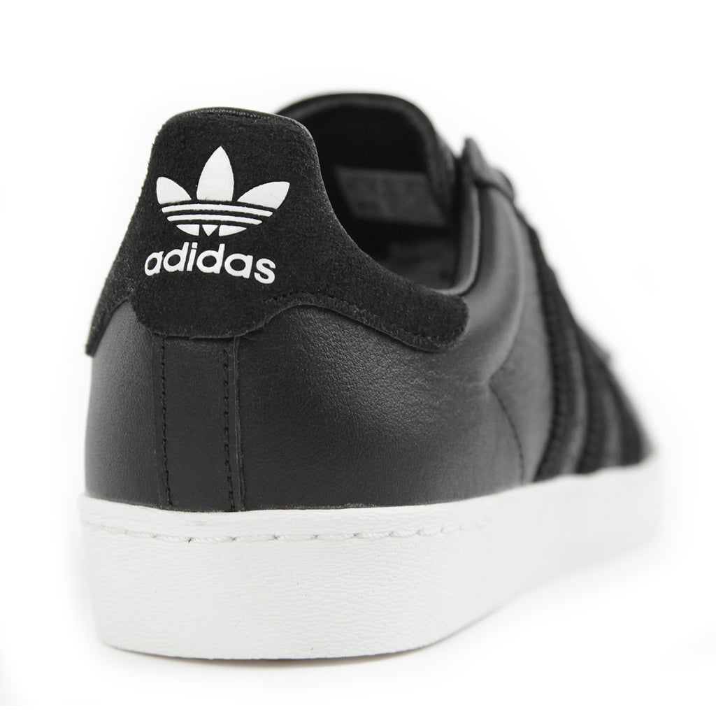 Adidas Skateboarding Superstar Vulc ADV Shoes in Core Black / Core Black / White - Heel