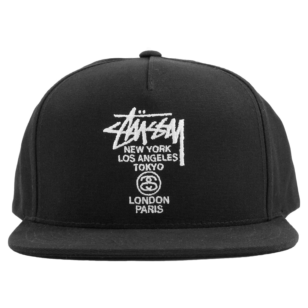 Stussy World Tour Canvas Snapback Cap in Black - Front