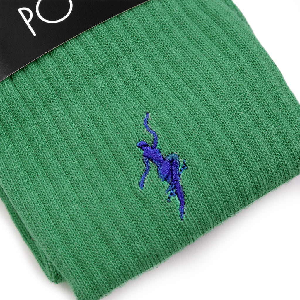 Polar Skate Co No Comply Socks in Sport Green / Blue - Detail